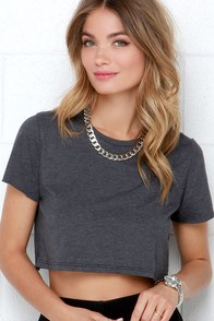 Ponyboy Grey Crop Tee at Lulus.com!