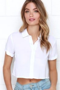Glamorous School's Out Ivory Button-Up Crop Top at Lulus.com!