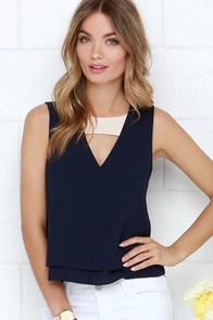 I'll V Waiting Navy Blue Top at Lulus.com!