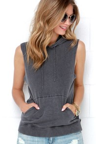 RVCA Label Washed Grey Sleeveless Hoodie at Lulus.com!