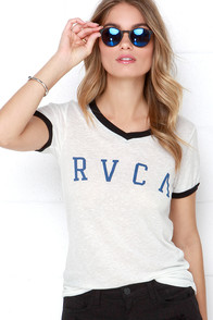 RVCA Arc Black and Ivory Tee at Lulus.com!
