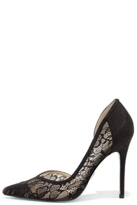 Blue by Betsey Johnson Grace Black Lace D'Orsay Heels at Lulus.com!