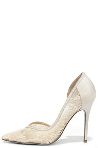 Blue by Betsey Johnson Grace Champagne Lace D'Orsay Heels at Lulus.com!