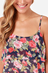 LULUS Exclusive Tier Ye, Tier Ye Navy Floral Print Tank Top at Lulus.com!