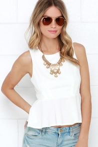 Tender Loving Flare Ivory Peplum Top at Lulus.com!