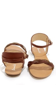 Maya 2 Cognac Braided Ankle Strap Sandals at Lulus.com!