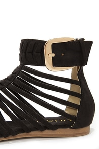 Notic 1 Black Caged Thong Sandals at Lulus.com!