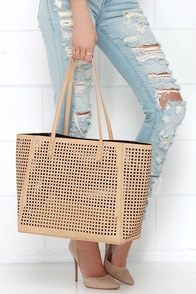 Final Cutout Beige Tote at Lulus.com!