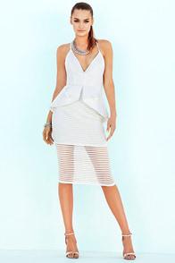 Tempting Fate Ivory Peplum Midi Dress at Lulus.com!