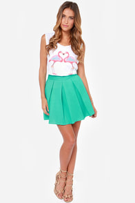 Automatic Awesome Pleated Turquoise Skirt