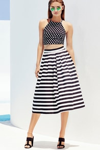 I Still Believe Black and Ivory Striped High-Waisted Midi Skirt at Lulus.com!