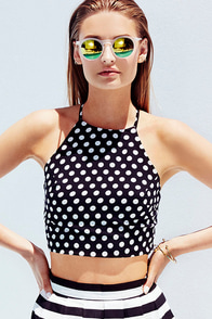 Wyldr Pretty Hurts Black Polka Dot Crop Top at Lulus.com!