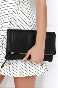 Claire Folding Black Clutch at Lulus.com!