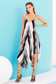 Northern Heights Black Print Midi Dress at Lulus.com!