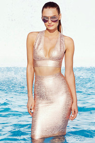 Daring Dryad Rose Gold Bodycon Two-Piece Dress at Lulus.com!