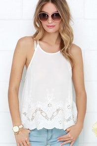 Fresh Gale Ivory Embroidered Tank Top at Lulus.com!