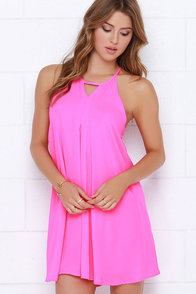 Pep in Her Step Neon Pink Swing Dress at Lulus.com!