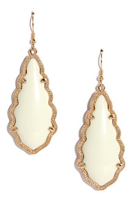 Zealous Zingara Gold and Ivory Earrings at Lulus.com!
