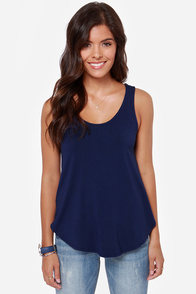 LULUS Exclusive Fun For All Navy Blue Tank Top at Lulus.com!
