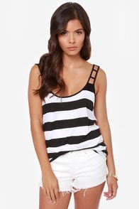 Volcom Get Low Black and White Striped Tank Top at Lulus.com!