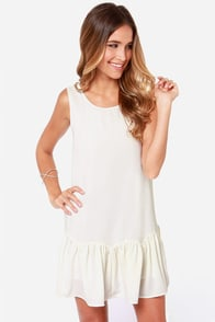 Breaking News Backless Ivory Dress at Lulus.com!