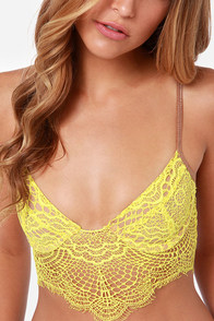 For Love & Lemons Bat Your Lashes Chartreuse Underwire Bra at Lulus.com!