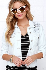 Glamorous Too Blessed to Be Distressed White Denim Jacket at Lulus.com!