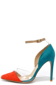 Clearly Chic Orange and Teal Suede Lucite Heels at Lulus.com!