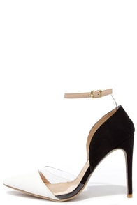 Clearly Chic White and Black Suede Lucite Heels at Lulus.com!