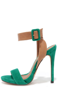 Things to Duo Sea Green and Beige Heels at Lulus.com!