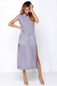 Cape Canaveral Blue and Ivory Striped Maxi Top at Lulus.com!