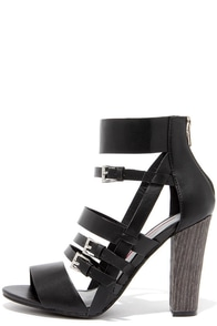 Strap Battle Black Caged Heels at Lulus.com!