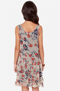 Fresh Arabesque Beige Floral Print Silk Dress at Lulus.com!