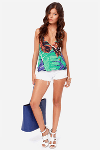 Shady Grove Mint Green Print Halter Top at Lulus.com!