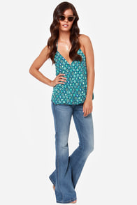Guinevere's Garden Teal Print Halter Top at Lulus.com!