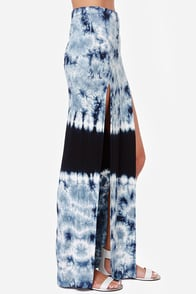 Crystalline Style Blue Tie-Dye Maxi Skirt at Lulus.com!