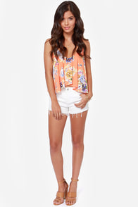 Fashion Flow-ard Bright Peach Floral Print Tank Top at Lulus.com!