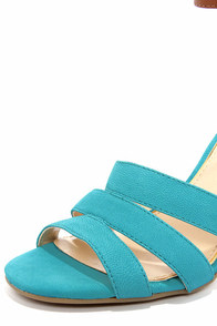 Jessica Simpson Maselli Cool Aqua and Tan Ankle Strap Heels at Lulus.com!