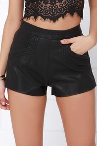 Blank NYC Air Guitar Black Vegan Leather Shorts at Lulus.com!