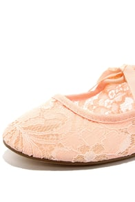 Restricted Sara Blush Lace Flats at Lulus.com!