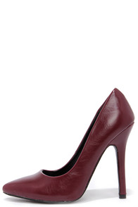 Fox Office Wine Pointed Pumps at Lulus.com!