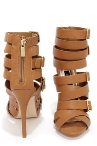 Dollhouse Arena Tan Buckled Caged Heels at Lulus.com!