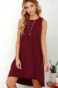 BB Dakota Kenna Maroon High-Low Dress at Lulus.com!