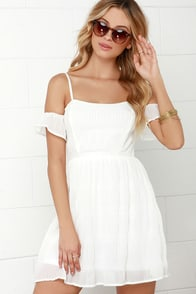 Skip a Pleat Ivory Off-the-Shoulder Dress at Lulus.com!