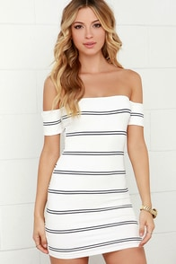 Paper Trail Navy Blue and Ivory Striped Off-the-Shoulder Dress at Lulus.com!