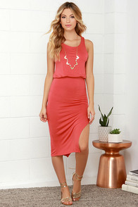 Walk On By Coral Red Midi Dress at Lulus.com!