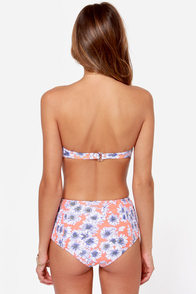 O'Neill Sunflower Neon Coral Floral Print Bustier Bikini at Lulus.com!