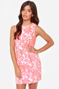 Dine With a Duchess Embroidered Neon Coral Dress at Lulus.com!
