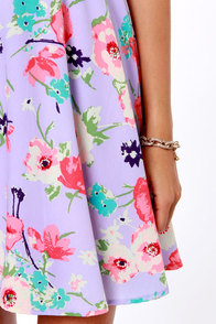 Grand Poppy Lavender Floral Print Dress at Lulus.com!