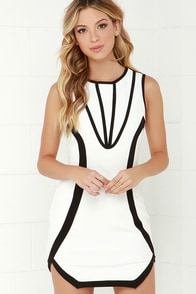 Space Cadet Black and Ivory Dress at Lulus.com!